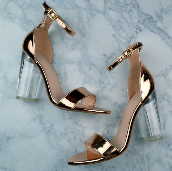 62204d09994 Metallic Rose Gold Clear Block Heels